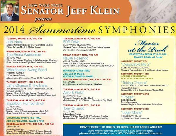 2014 Summer Symphonies Schedule