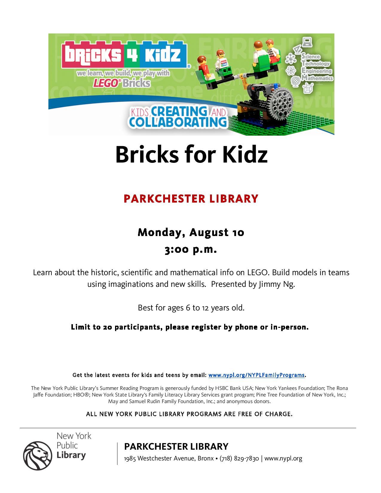Bricks 4 Kidz Event at the Parkchester Library