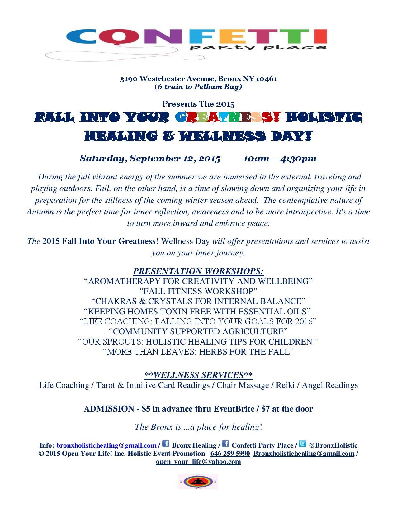 Fall Into Your Greatness! Holistic Healing and Wellness Day!