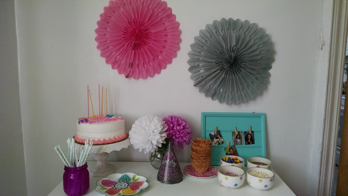 Sweet and Simple Sleepover Cake Table & Ice Cream Bar